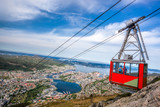 Ulriken cable railway in Bergen, Norway. Gorgeous views from the top of the hill. - 190206704