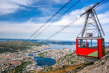 Ulriken cable railway in Bergen, Norway. Gorgeous views from the top of the hill. - 190206753