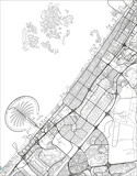 Black and white vector city map of Dubai with well organized separated layers. - 190207777