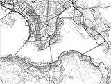 Black and white vector city map of Hong Kong with well organized separated layers. - 190208901