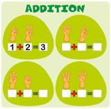 Addition worksheet with hand symbols - 190212760