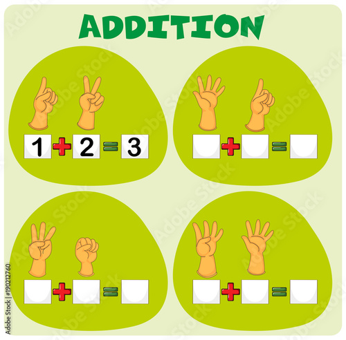 Fotobehang Kids Addition worksheet with hand symbols