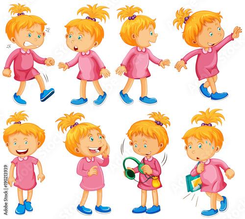 Fotobehang Kids Girl in pink dress doing different things