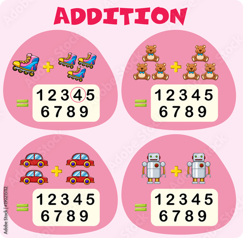 Fotobehang Kids Addition worksheet template with toys