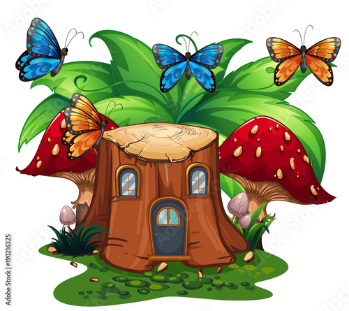 Fotobehang Kids Butterflies flying around log home