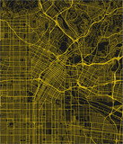Black and yellow vector city map of Los Angeles with well organized separated layers. - 190216538