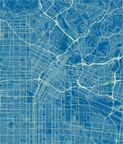 Blue and White vector city map of Los Angeles with well organized separated layers. - 190216599