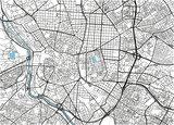 Black and white vector city map of Madrid with well organized separated layers. - 190216931