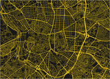 Black and yellow vector city map of Madrid with well organized separated layers. - 190217137