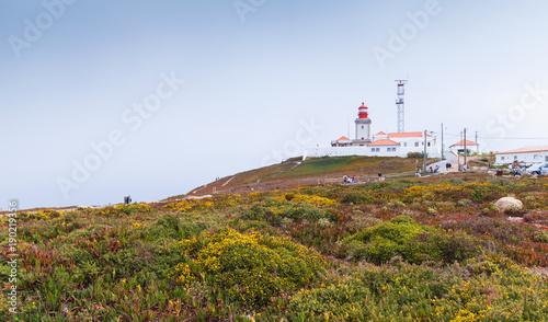Fotobehang Vuurtoren Landscape of Cabo da Roca with lighthouse