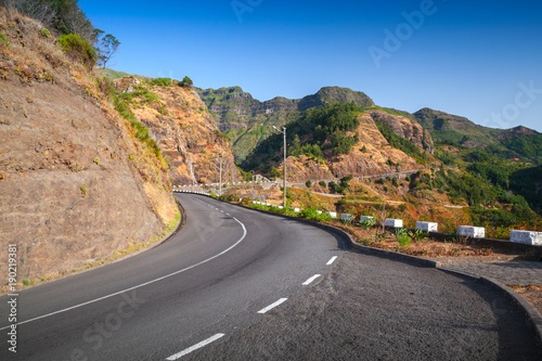 Foto op Canvas Zalm Summer landscape with empty mountain road