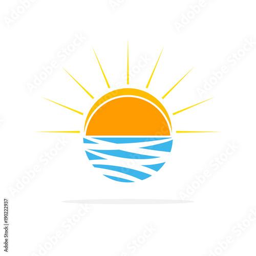 Sun on the waves logo. Vector illustration.