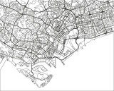 Black and white vector city map of Singapore with well organized separated layers. - 190225922
