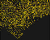 Black and yellow vector city map of Singapore with well organized separated layers. - 190226126