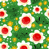 Seamless pattern with butterflies. Background with flying beautiful butterfy and flowers.