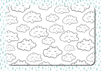 Coloring book. A4 horizontal page with cute cartoon sleeping clouds.
