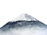 watercolor japanese fuji mountain.Hand drawn illustration isolated on white background