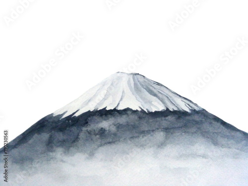 watercolor japanese fuji mountain.Hand drawn illustration isolated on white background © atichat