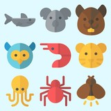 Icons set about Animals with firefly, spider, shark, owl, octobus and squirrel