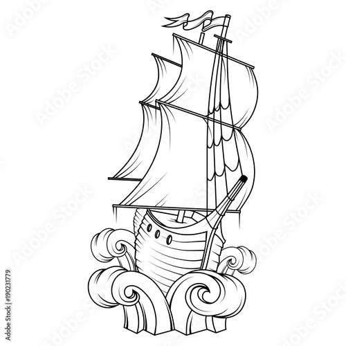 Retro Cargo Ship Sailing Boat Logo Sea Company Vector Design