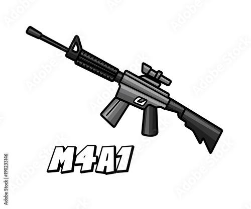 assault riffle weapon model m4a1 cartoon design