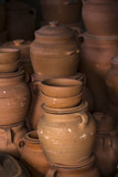 Clay pottery stacked one on another - 190234767