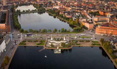 Aerial view of The Lake Pavilion (Søpavillonen), Copenhagen, Denmark.