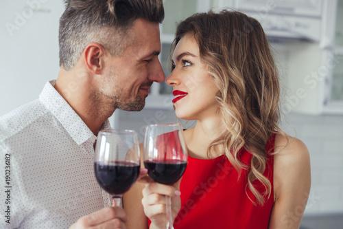 Foto Murales Portrait of a loving romantic smart dressed couple
