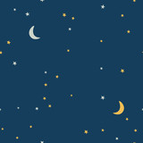 Dark starry sky and moon hand drawing vector seamless pattern. Texture for textile, scrapbook, wrapping paper.