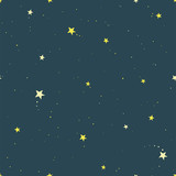 Dark starry sky hand drawing vector seamless pattern. Texture for textile, scrapbook, wrapping paper.