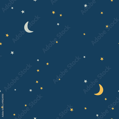 Fototapeta Dark starry sky and moon hand drawing vector seamless pattern. Texture for textile, scrapbook, wrapping paper.