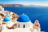 Santorini skyline blue church - 190243137