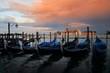 Gondola and San Giorgio Maggiore island sunrise