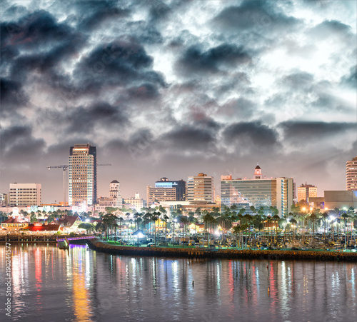 Long Beach city skyline at night, California