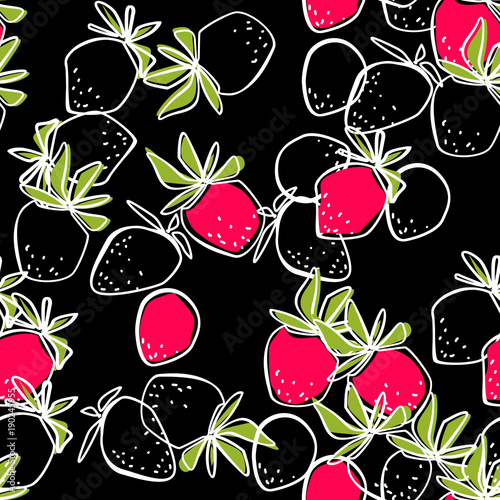 Seamless abstract strawberry modern pattern on black - 190245955