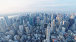 NEW YORK CITY - OCTOBER 25, 2015: Aerial view of city skyline. The city attracts 50 million people every year