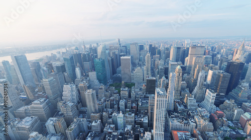 Obraz na płótnie NEW YORK CITY - OCTOBER 25, 2015: Aerial view of city skyline. The city attracts 50 million people every year