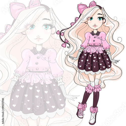 Cute fashion girl cartoon character in pink, hand drawn vector illustration - 190251768