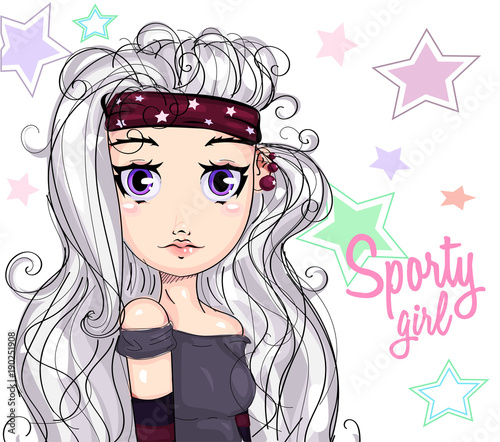 Cute sporty girl cartoon character portrait, young fitness fashion woman on stars background vector illustration - 190251908