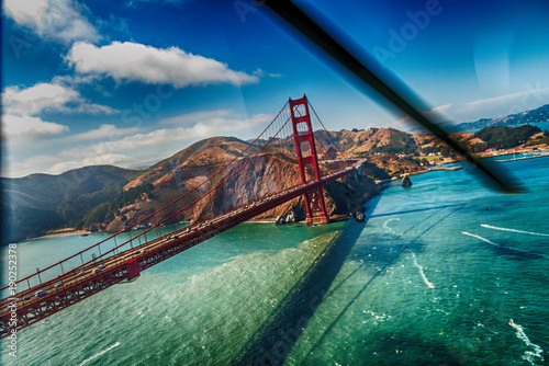 San Francisco Golden Gate Bridge from helicopter