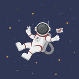 Funny flying astronaut in space with stars around - 190253595