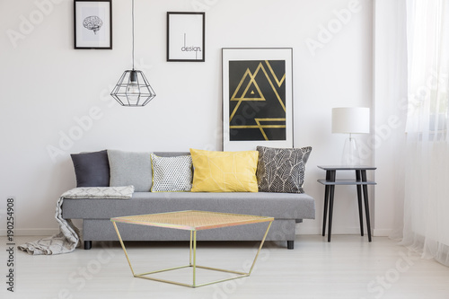 Gold table in simple interior