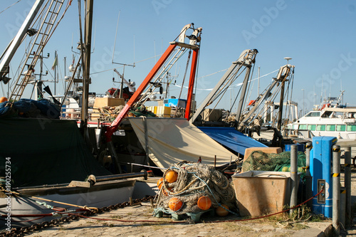 Keuken foto achterwand Schip Summer. Italy. Cesenatico. Museum of the ships. Fishing schooners