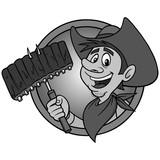 Cowboy BBQ Illustration - A vector cartoon illustration of a Cowboy mascot icon. - 190259958