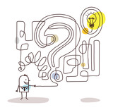 Cartoon Businessman with Maze and Solution - 190261948