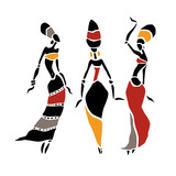 Silhouette of woman. African dancers. Dancing woman in traditional ethnic style. Vector Illustration. - 190264160