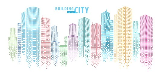 Abstract City vector, transparent city landscape, Dots Building in the night City © Komate