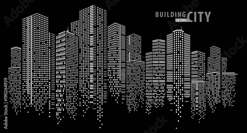 Abstract City vector, transparent city landscape, Dots Building in the night City - 190264939
