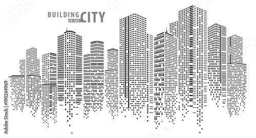 Plakat Abstract City vector, transparent city landscape, Dots Building in the night City