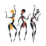 Silhouette of woman. African dancers. Dancing woman in traditional ethnic style. Vector Illustration. - 190265358
